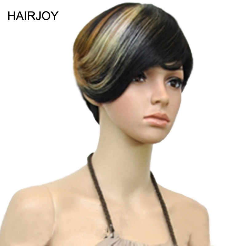 HAIRJOY 1B/30/613 Three Tones Mix Color Hair Short Straight Woman Heat Resistant Synthetic Wig