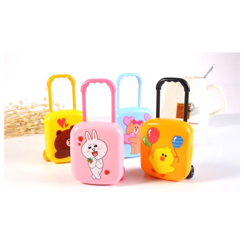 4 Sets Mini Luggage 3D Rubber Eraser Fashion Creative Mini Colored Animal Fruit Eraser With 4 Pieces Mini Eraser In Each Luggage