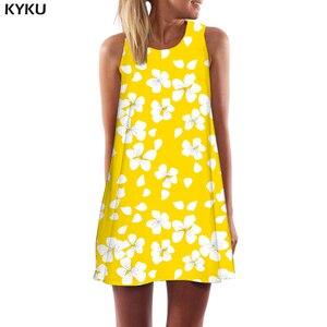 KYKU Flower Dress Women Harajuku Tank Art Beach Graffiti Vestido Sexy Yellow Korean Style Womens Clothing Summer Ladies(China)