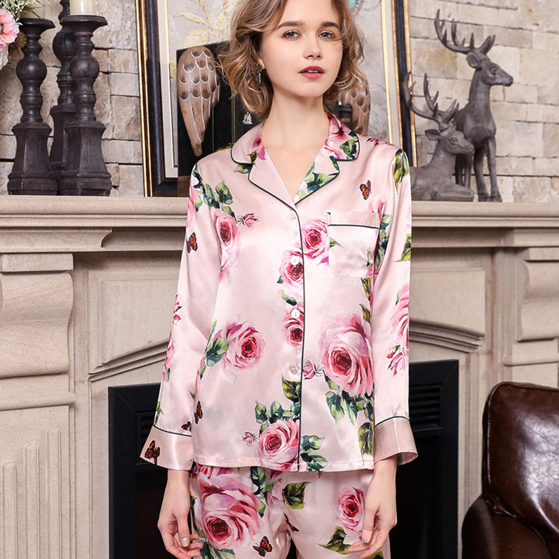 Real Silk Pajama Female Spring Autumn Silkworm Silk Long-Sleeve Two-Piece Romantic Rose SILK Woman's Sleepwear Summer T8189