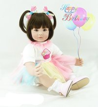 22 inch 55 cm Silicone baby reborn dolls, lifelike doll reborn babies toys Lovely color yarn dress doll