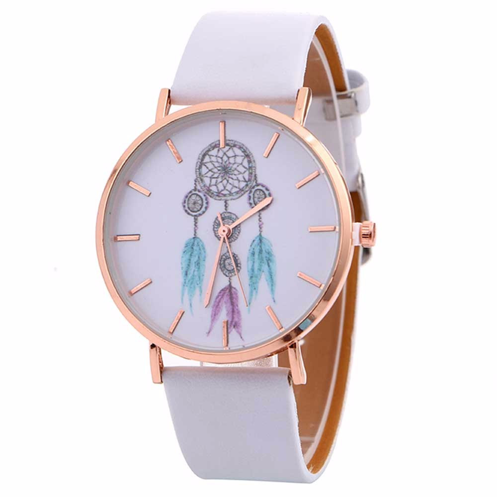malloom Casual Womens Bracelet Watch Lady Dreamcatcher Print Faux Leather Quartz Wristwatch Clock Women relojes mujer faux leather rhinestoned bracelet watch