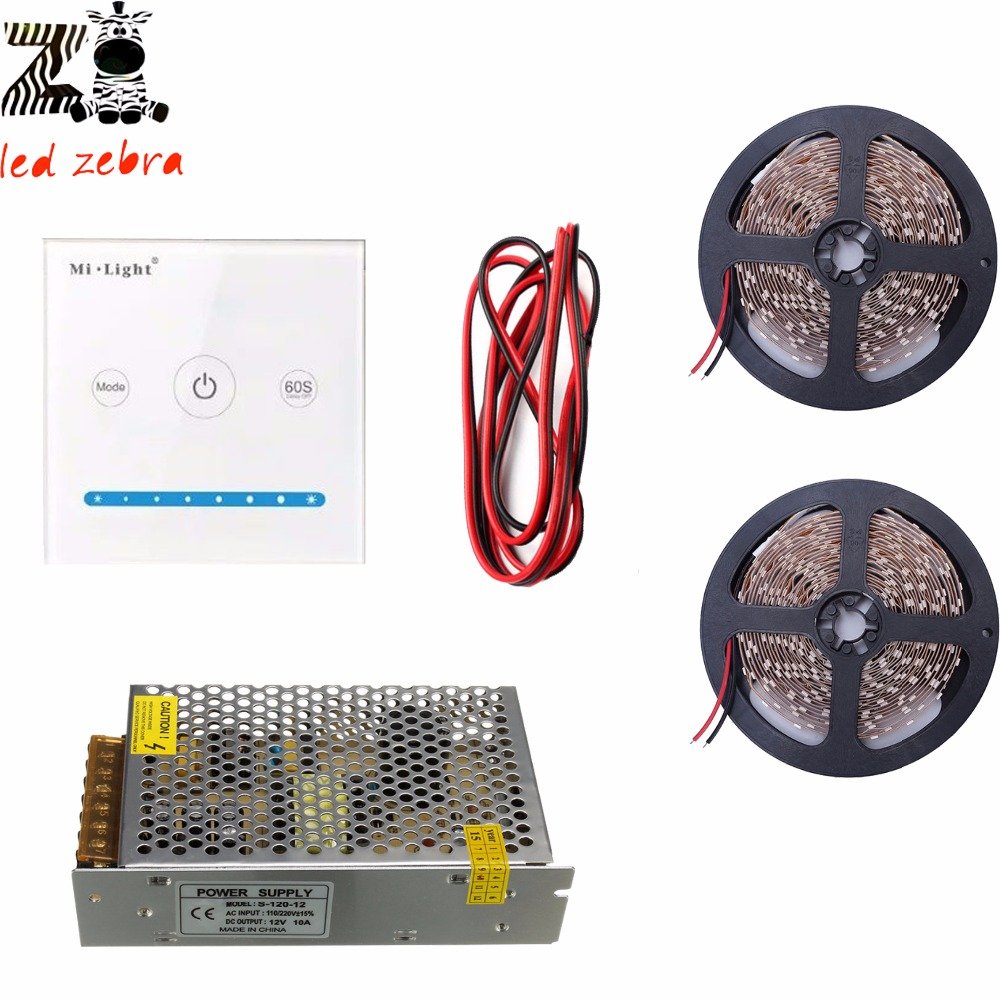 5m/10m 5050 SMD white/warm white led strip light+mi.light P1 led touch panel led controller+12v led power transformer+led цена