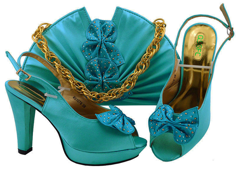 Shoe and Bag Set New 2018 Women design heels to high fashion shoes 2018 Sky blue