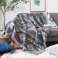 Geometria europeia lance cobertor sofá decorativo slipcover cobertor no sofá/camas/avião viagem xadrez antiderrapante costura cobertores