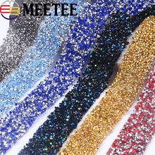 1Yard Rhinestons Lace Trims Iron on Crystal Chain Ribbons Wedding Bridal Dress Applique Sewing Accessories Party Decor