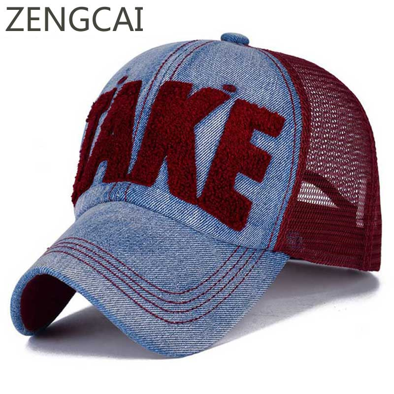 2018 Take Letter Denim Mesh Trucker Cap Women Summer Baseball Caps Adjustable Breathable Snapback Hat Men Embroidery Dad Hats 2018 cc denim ponytail baseball cap snapback dad hat women summer mesh trucker hats messy bun sequin shine hip hop caps casual