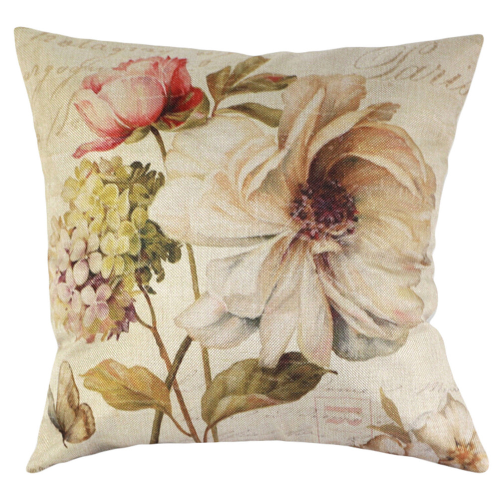 Vintage Decorative Home Cotton Linen Pillow Case Cover Living Room Bed Chair Seat Waist Throw Cushion