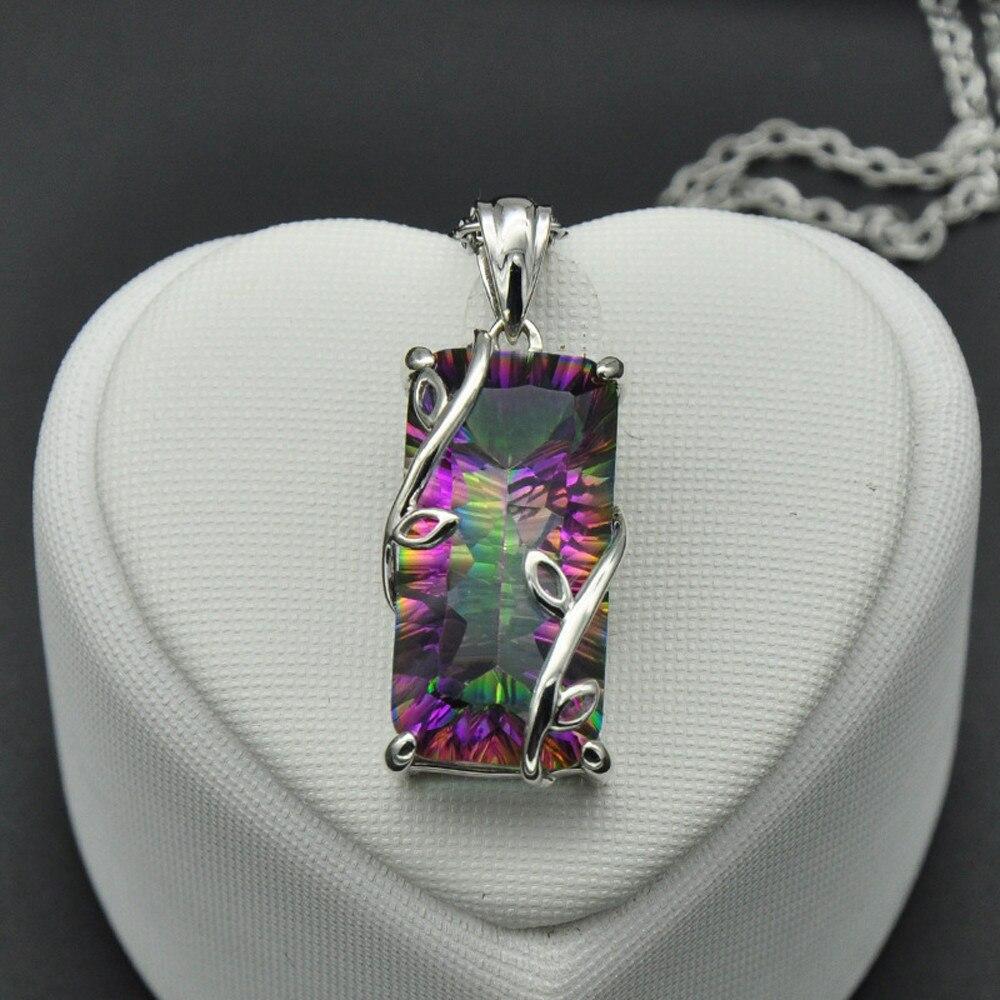 2019 New Women Fashion Flowers Of The Rainbow Tourmaline Pendant Exquisite Luminous Elements Necklace Chain Elegant Jewelry Chain Necklaces