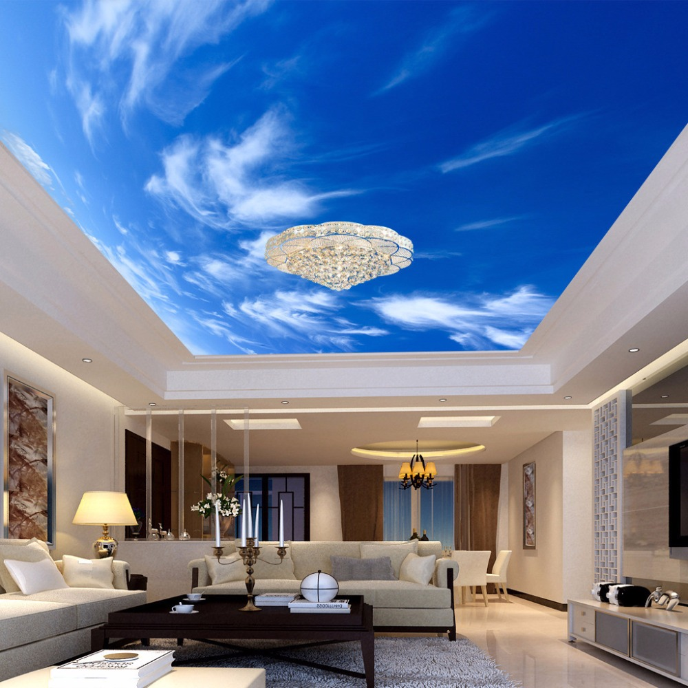 Blue sky and white cloud 3d stereo ceiling mural wallpaper for Ceiling mural wallpaper