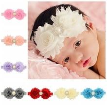 12pcs lot little Girls Chiffon Shabby Flower Headband Pearl Rhinesotne  Hairband Kids 62961c3ae688