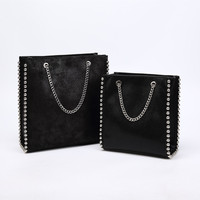 Women Fashion Chain Bead Shoulder Bags Retro Large Capacity Tote Bag Lady Commuting Pu Leather Messenger Bags Solid Color Bag