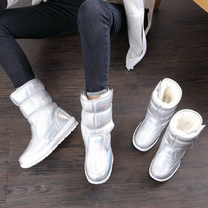 Image 4 - 2020 New Winter fashion women boots mixed natural wool female warm boots waterproof thick fur full size silver lady snow boots