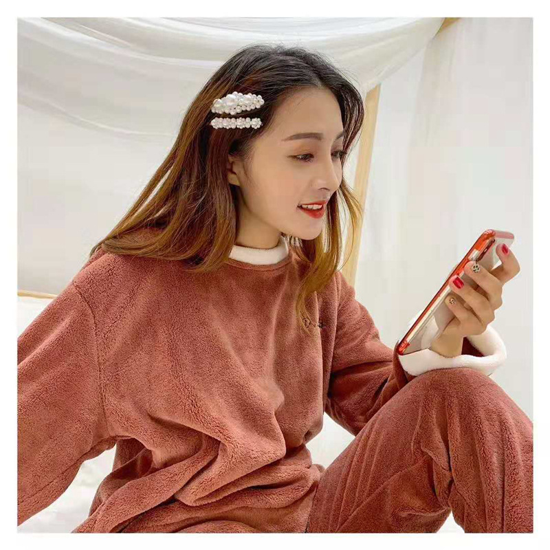 Pijama pyjama femme Coral fleece Fairy warm pants suits ladies home clothing two-piece coral warm winter sweet   pajamas     set
