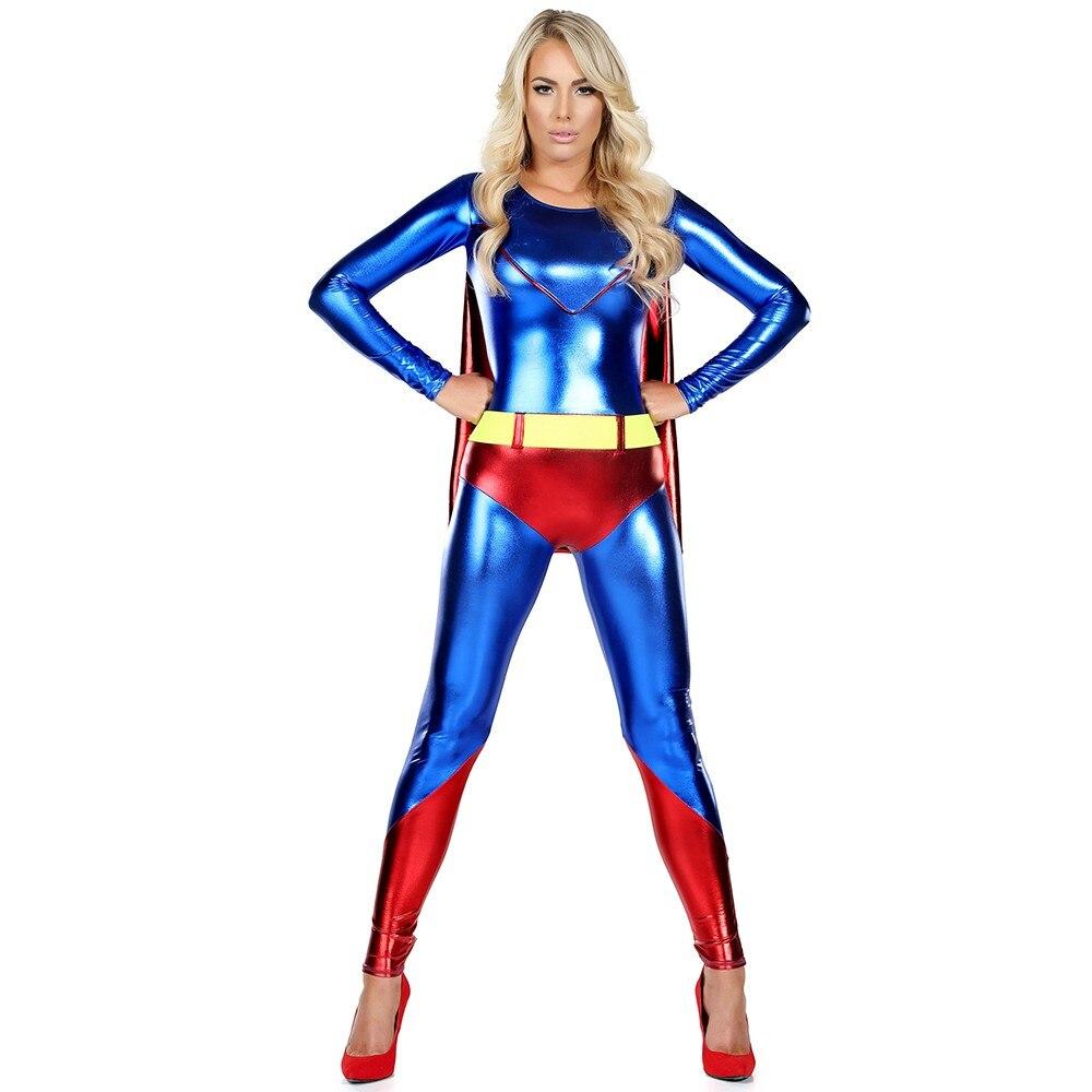 Faux Superman Costume Cosplay Supergirl Costume Superhero -3436