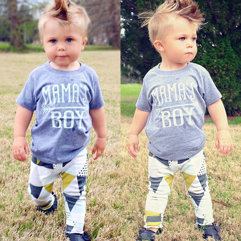 Newborn Infant Baby Kids Mamas Boy T-shirt Long Pants Playsuit Outfits Clothes