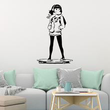 Fashionable Girl Skateboard Wall Stickers Home Furnishing Decorative Sticker For Boys Bedroom Decals Decal Mural