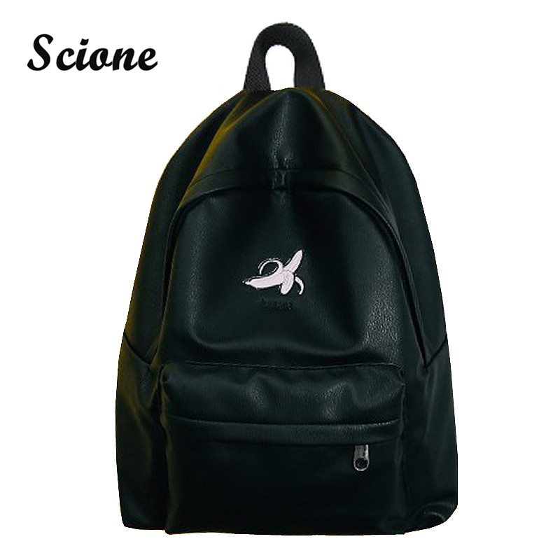 Scione Women Black PU Leather Backpack Cute Embroidery Backpack For Teenage Girls Pink/Gray Travel Rucksack White Backpacks Bag