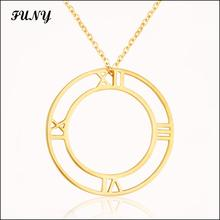 Funy Double round Unisex Pendant Necklaces for women men High quality jewelery Stainless Steel Creative Classic free shipping