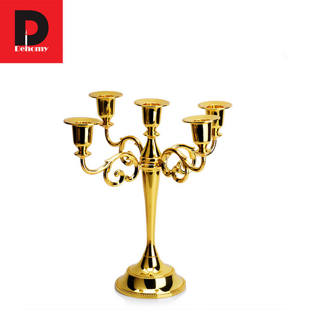 Dehomy European Metal Candlestick With 5 Arms Candle Stand Table Hotel  Festival Birthday Candelabra Home Decor