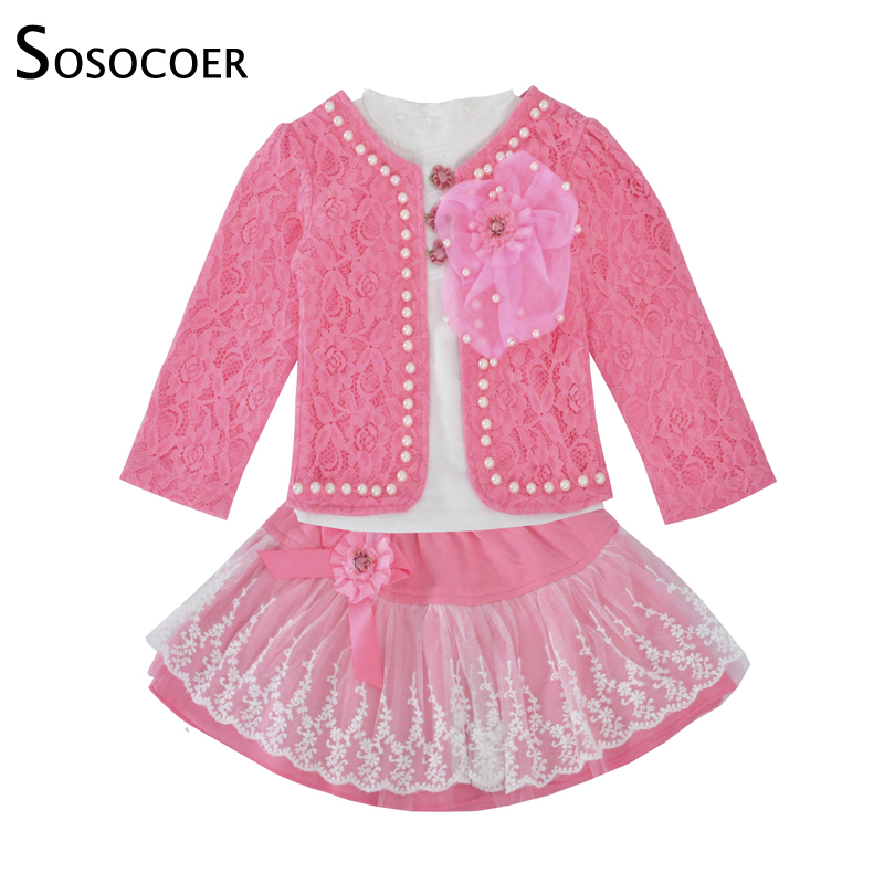 SOSOCOER Kids Girls Clothing Set Spring Fall Lace Coat Big Bow Long Sleeve T Shirt Skirt Suits 3pcs Outfits Children Clothes Set fall halloween clothes cutest pumpkin short sleeve orange black sequins suit children boutique long pants with matching bow set