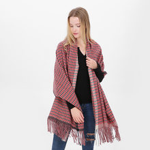 Herfst winter plaid sjaal oversized dikke sjaal Sjaals roze kwastje Roosters Pashmina Cashmere Poncho En Capes Top Wrap Warm(China)