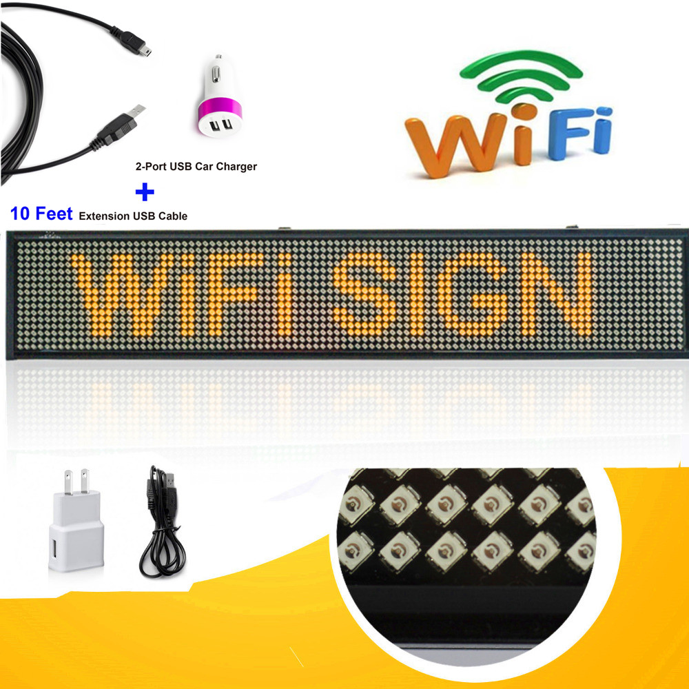 12V 50cm P5 SMD Car Truck Taxi Rear Window Sign Scrolling LED Display Board By Wireless Fast Programmable Support Car Charger