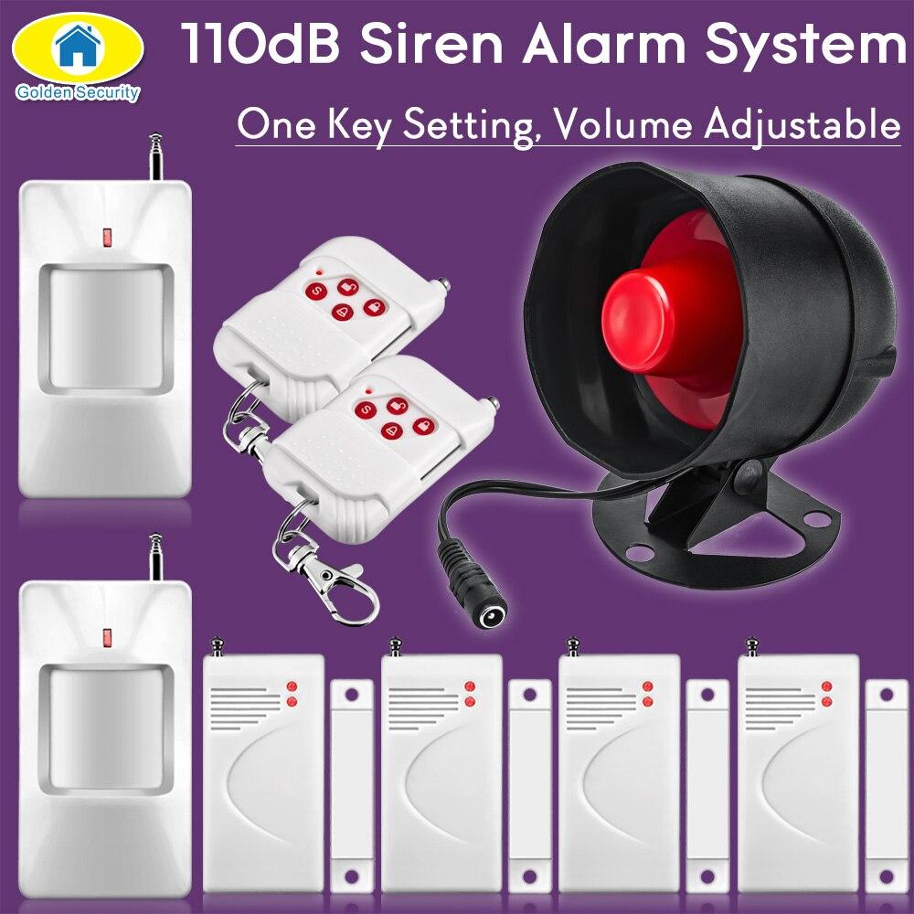Dourado 110db sem fio sirene de segurança sistema alarme segurança para casa pir detector alarme segurança pir sensor da porta