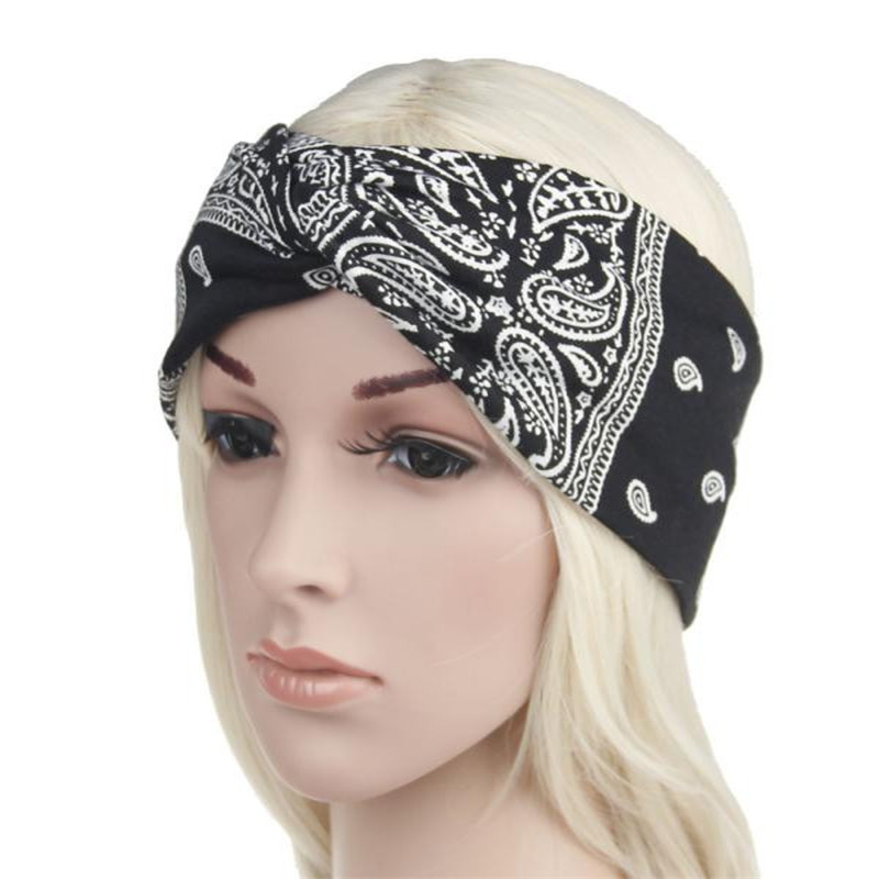 Women Elastic Turban Soft Twisted Knotted Hair Band Ladies Yoga Floral Headband