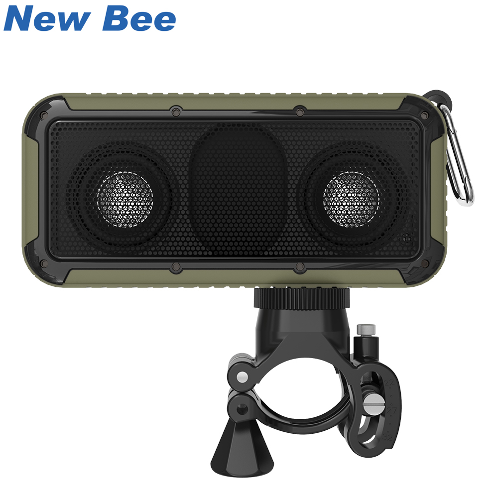 New Bee Portable Speaker Wireless Bluetooth Speakers Outdoor Waterproof With Mic 3.5 Jack NFC Bicycle Mount LED Flashlight Hook