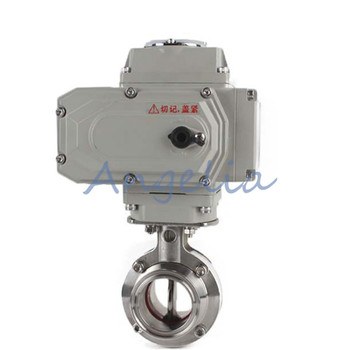 """1-1/2"""" Stainless Steel 304 Sanitary Motorized Butterfly Valve Tri Clamp 220VAC"""