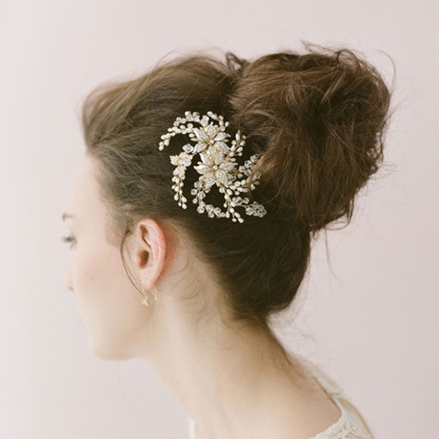 Gold Pearls Bridal Accessories Hair For Wedding Real Image Hand Made Beads Cheap Modest Fashion Hair Accessories