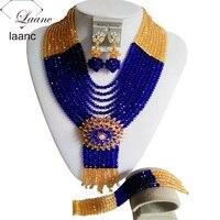 Benzersiz altın şampanya ve kraliyet mavi Kristal Kolye Nijeryalı Afrika düğün Boncuk Takı Seti Ücretsiz shippingLZ489