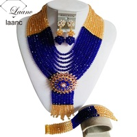 Unique gold champagne and royal blue Crystal Necklaces Nigerian African wedding Beads Jewelry Set Free shippingLZ489