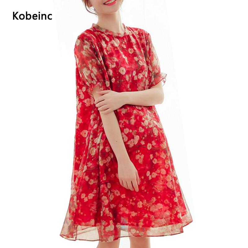 92fc2d442 Ropa de maternidad 2017 del verano de flores de gasa dress short sleeved  plisado dress plus size vestidos de maternidad para las mujeres embarazadas  en ...