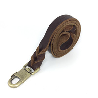 Braided Leather Dog Training Leash 4 Foot Best Military Grade Heavy Duty Pet Dog Leash for Large Medium Small Dogs 1 in Width