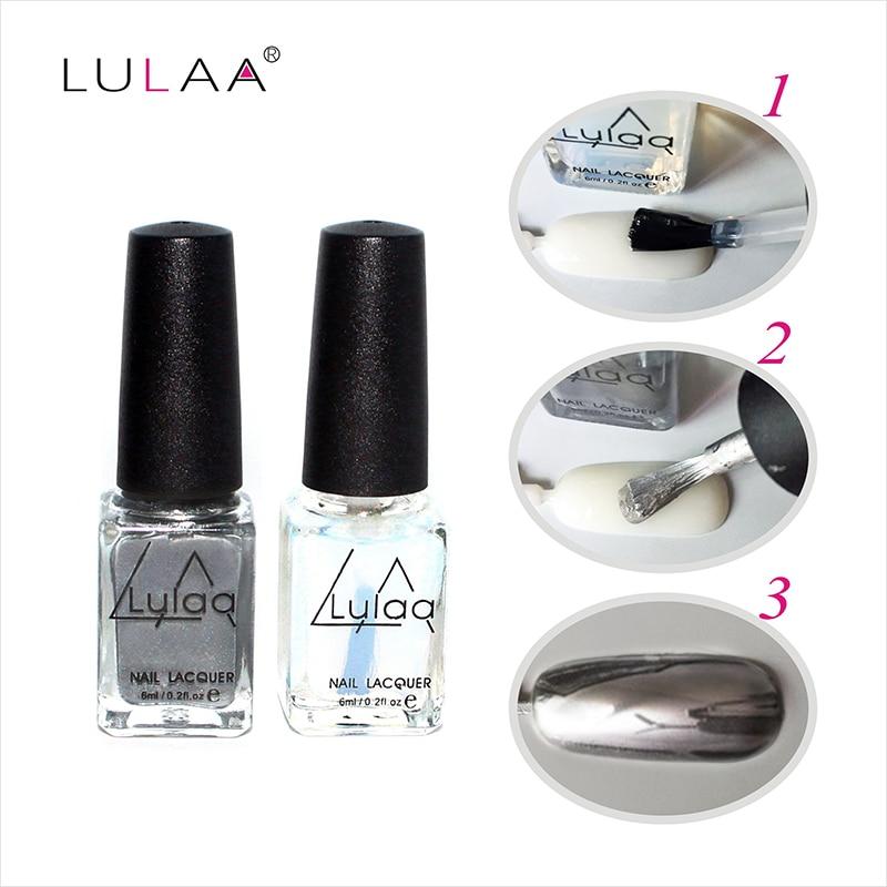 Lulaa 6ml Silver Mirror Effect Metal Nail Polish Varnish Top Coat Transpa Metallic Nails Art Tips Set In From Beauty