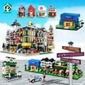 Casas de bloques de edificios urbanos de la ciudad 4 casa de muñecas de mini calle nuestra ciudad educación aprendizaje ladrillos juguetes compatible con lego city