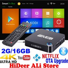 2GB 16GB Android 6.0 TV Box EM95X Amlogic S905X Quad-Core A53 Kodi 16.1 Full loaded WiFi 4K smart H.265 Streaming Mini PC Player