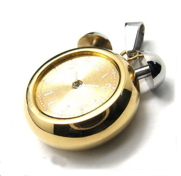 Glod Steel Clock Pendant Stainless Steel Gold & Silver Traditional Clock Style Pendant with CZ Cubic Zirconia SP0025 Gold