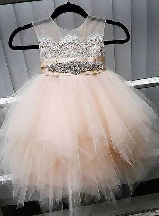 Cute Tulle Jewel Neckline Ball Gown Flower Girl Dresses With Lace Appliques Champagne Puffy Girls Birthday Dress недорго, оригинальная цена