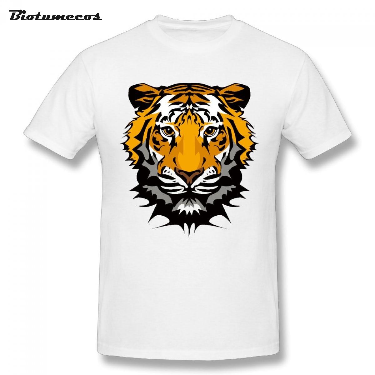 Летняя мужская футболка тигр изображения с принтом короткий рукав с круглым вырезом, 100% хлопковые футболки рубашка Верхняя часть одежды ...