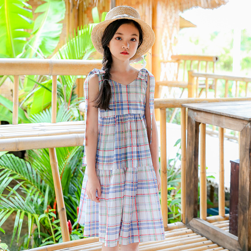 Kids Girls Plaid Summer Dress Big Girls Dresses Teenagers Girl Clothing Children Clothes For 4 5 6 7 8 9 10 11 12 13 14 15 Years summer seaside girls dresses children korean style clothing big girl casual striped costume kids cotton clothes junior vestidos