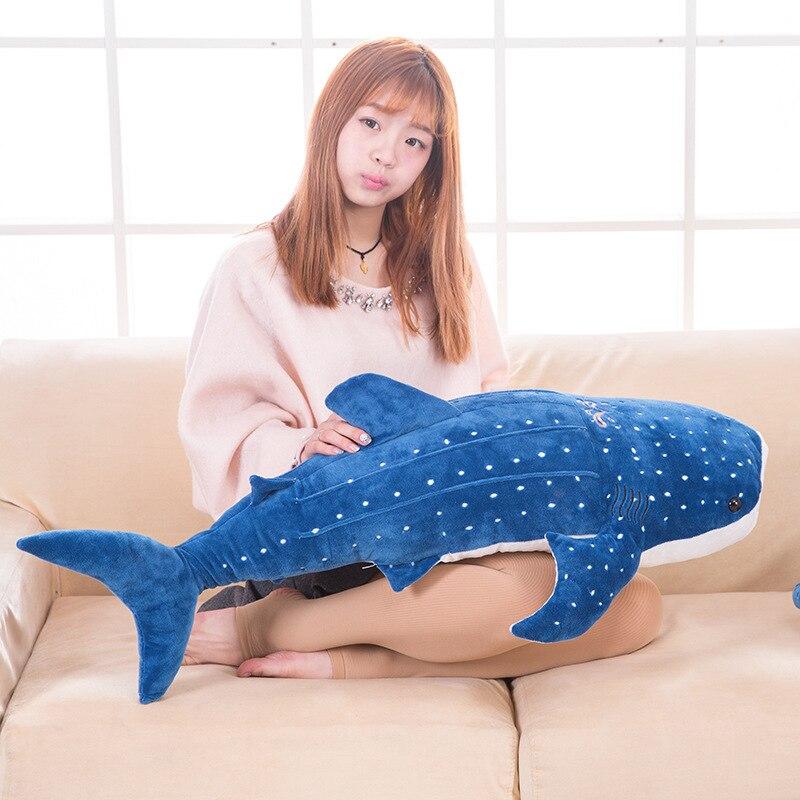 Moyen nouveau peluche requin bleu jouet en peluche baleine de mer poupée cadeau environ 100 cm