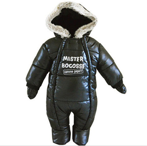 ФОТО 2016 baby boy winter romper  thick warm snowsuit hooded overcoat newborn infants cotton-padded clothing jumpsuits