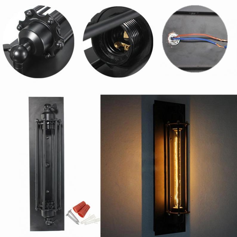 T300 Industriale Rustic Lungime Negru Wall Sconce Plate Lamp Retro Vintage de iluminat pentru uz interior