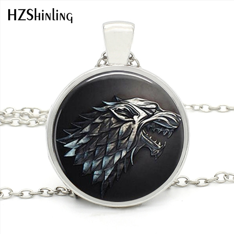 HZ1- MINI-003 New Fashion Vintage Dragon Wolf Jewelry Game of Thrones Pendant Necklace Art Photo Glass Cabochon Necklace for men