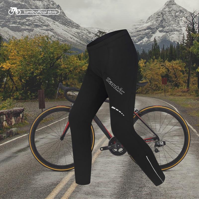 Santic Winter Cycling Long Pants Men Reflective Thermal Pants Keep Warm Cycling Full Pants Cycling Clothings S-3XL WMC04029