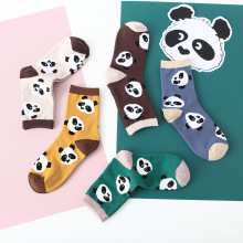 FOURETAW 1 Pair Fashion Cute Harajuku Style Skarpetki Socks Women Animals Chic Panda Bamboo Pattern Design Womens Funny