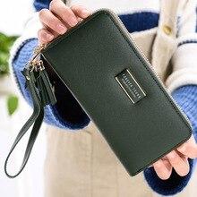 מונה CAUTHY חדש נקבה ארנקים אופנה תמציתי גדול קיבולת רב כרטיס חריץ טלפון סלולרי כיס מוצק צבע ירוק ארוך ארנק